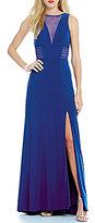 Morgan & Co. Illusion Plunging Neckline Gown