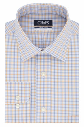 Chaps Men's Dress Shirt Regular Fit Stretch Check
