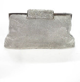 Whiting & Davis Silver Tone Josephine Crystal Clutch Handbag New $195 90061061