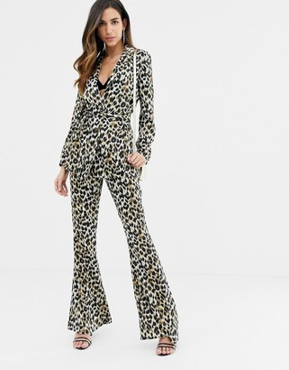 ASOS DESIGN kick flare pants in animal print