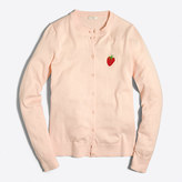 J.Crew Factory Embroidered strawberry Caryn cardigan sweater