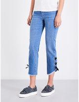 Maje Phare eyelet-embellished boyfriend high-rise jeans