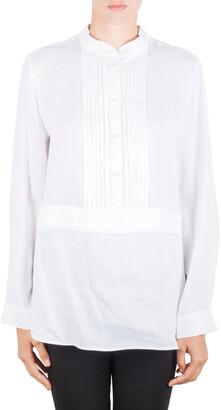 Armani Collezioni Off White Linen Pleat Detail Long Sleeve Blouse XL