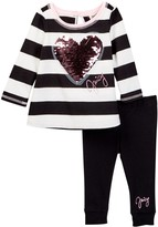 Juicy Couture Sequin Heart Applique Wide Stripe Tunic & Legging Set (Toddler Girls)