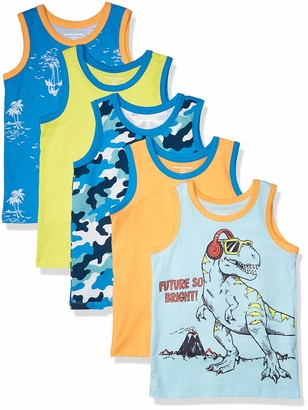 Amazon Essentials Boys' 3-pack Tank T-Shirt Black Beauty/Bright White/Navy Blazer XS