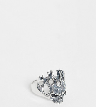 Reclaimed Vintage inspired sterling silver ring with skull detail exclusive to ASOS