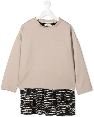 Andorine TEEN dot-print contrast dress