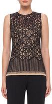 Akris Sleeveless Geometric Lace Top, Black