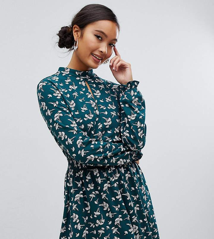 Miss Selfridge shirred waist mini dress in green floral