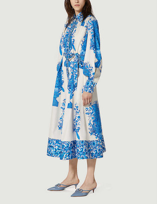 Valentino Floral-print blouson-sleeved A-line cotton midi dress