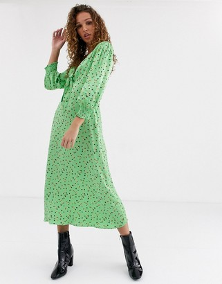 Ghost lottie satin printed satin midi dress-Green
