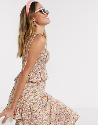 Influence sleeveless midi tiered cami dress in floral
