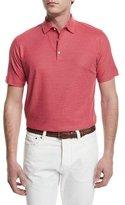 Isaia Gran Short-Sleeve Pique Polo Shirt, Red