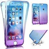 iPhone SE Case,iPhone 5S Case,PHEZEN Scratch Proof 360 Front and Back Full Body Protection Flexible TPU Bumper Case Anti-Scratch Protective Case For iPhone SE/5/5S, Gradient Blue Purple