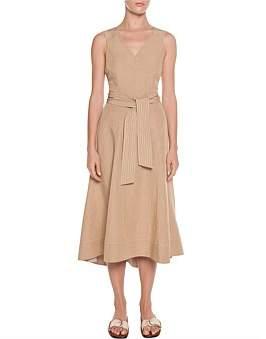Veronika Maine Drapey Slub Topstitch Belt Dress