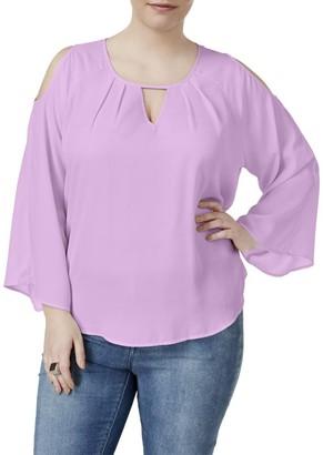 Melissa McCarthy Women's Plus Size Peekaboo Cold Shoulder Blouse