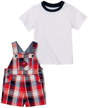 Kids Headquarters Baby Boys 2-Pc. T-Shirt & Plaid-Print Shortalls Set