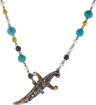 Sevan Biçakci Turquoise and Pearl Dagger Necklace