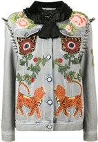 Gucci King Charles Spaniel studded denim jacket - women - Cotton/Calf Hair/Polyester/Cupro - 40