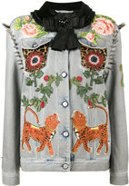 Gucci King Charles Spaniel studded denim jacket