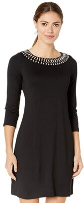 Tommy Bahama Drapey Ponte 3/4 Sleeve Dress (Black) Women's Dress