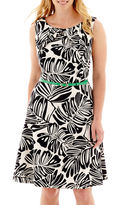 JCPenney Alyx Sleeveless Palm Print Triple Pleat-Neck Fit-and-Flare Dress - Plus