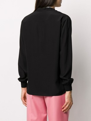 Givenchy logo print tied neck blouse