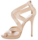 Jimmy Choo Collar Snakeskin Sandals