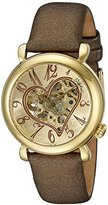 Stuhrling Original Cupid II Women's Automatic Watch with Gold Dial Analogue Display and Brown Leather Strap 1.091235E+33