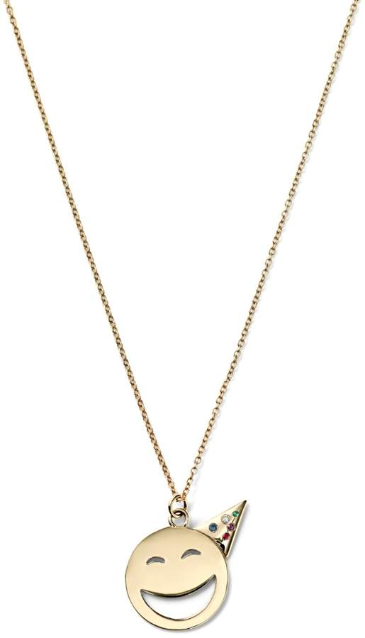 Alison Lou 14K Gold Large Party Face With Gems Necklace