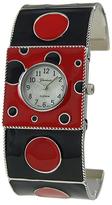 Geneva Platinum Black & Red Polka Dot Cuff Watch