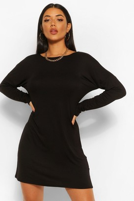 boohoo Cross Back Long Sleeve T-Shirt Dress