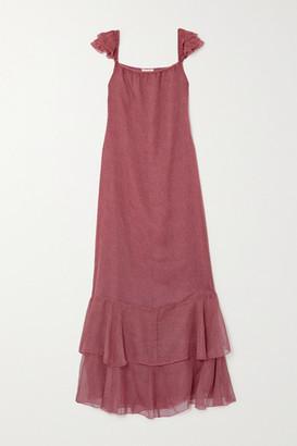 Eywasouls Malibu Cindy Tiered Polka-dot Chiffon Maxi Dress - XS/S