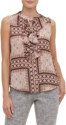 Tommy Hilfiger Paisley Ruffle-Front Sleeveless Top