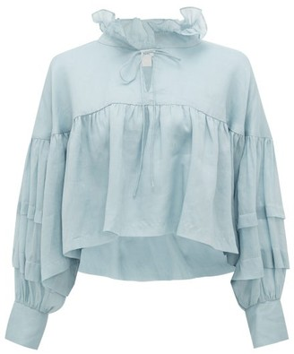 White Story - Elkie Ruffled Cropped Blouse - Light Blue