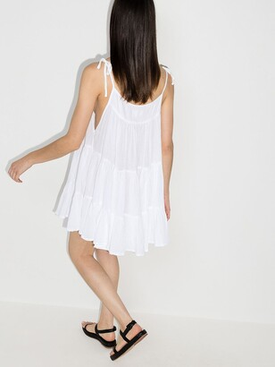 HONORINE White Peri Tiered Cotton Mini Dress