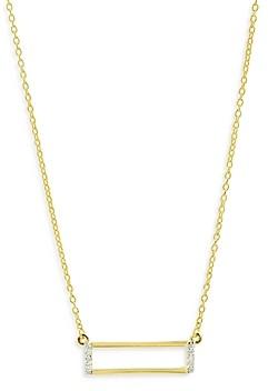 Freida Rothman Cubic Zirconia Rectangular Pendant Necklace, 18