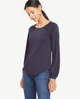 Ann Taylor Covered Button Trim Top