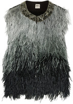 Haute Hippie Ombré feather and silk vest