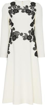Lela Rose Lace-Appliqued Cady A-Line Midi Dress