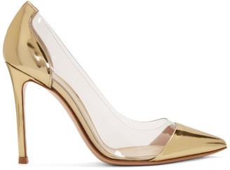 Gianvito Rossi Gold Patent Plexi 105 Heels