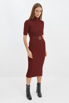 SABA Vicky High Neck Knit Midi Dress