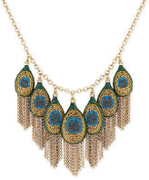 Lucky Brand Gold-Tone Peacock Pavé Fringe Statement Necklace