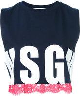 MSGM logo print tank top - women - Cotton - M