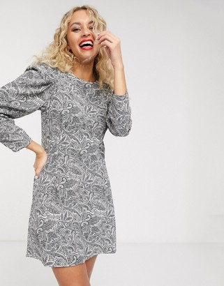 And other stories & paisley print puff-sleeve mini dress in black