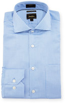 Neiman Marcus Luxury Tech Trim-Fit Check-Print Dress Shirt, Blue