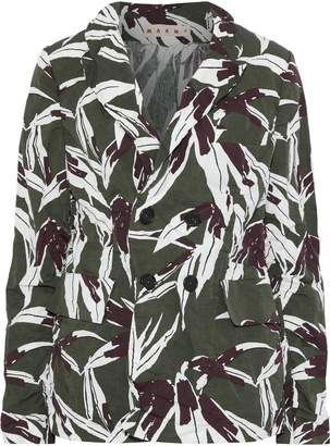 Marni Double-breasted Printed Crinkled Cotton And Linen-blend Blazer