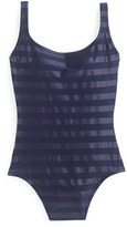 J.Crew Laminated striped scoopback one-piece swimsuit