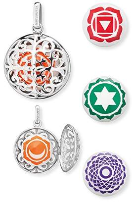 Engelsrufer Women's 925 Sterling Silver Orange Pendant with Four Changeable Sound Lenses Sacral, Root, Heart and Crown Chakra