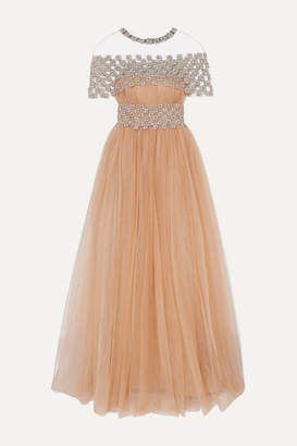 Reem Acra Cape-effect Embellished Gathered Tulle Gown - Beige